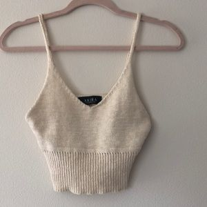 Akira cream color knit crop top.